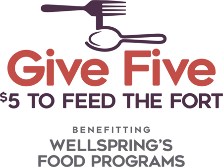 wellspring interfaith social services give five to feed the fort logo design
