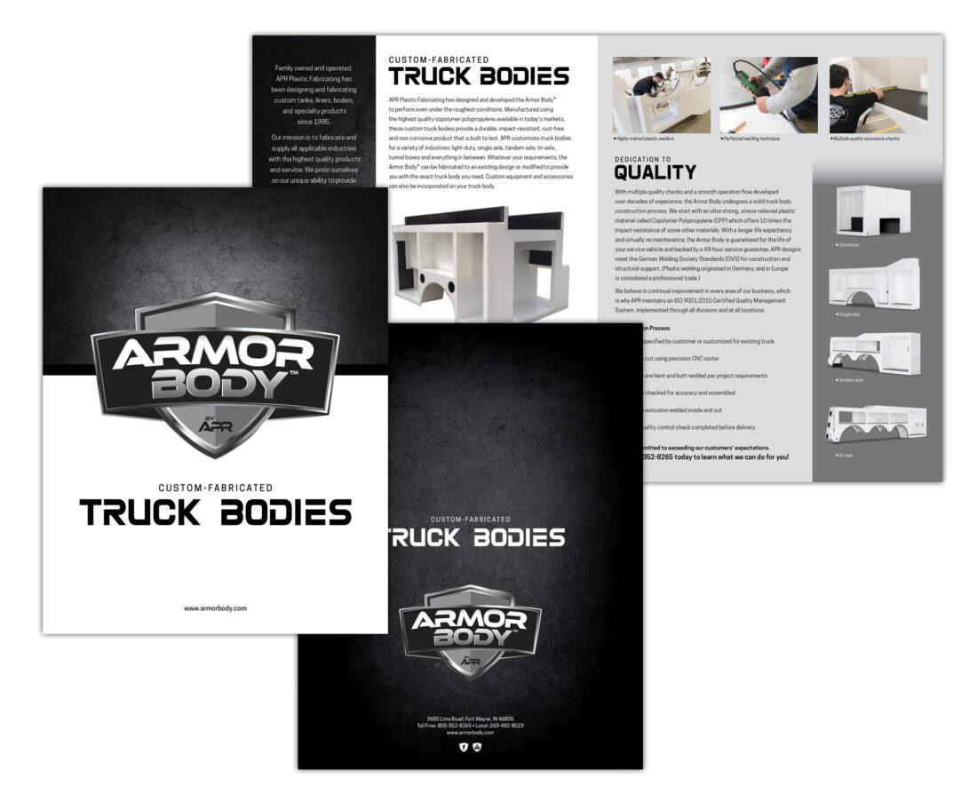 armor body logo and brochure design