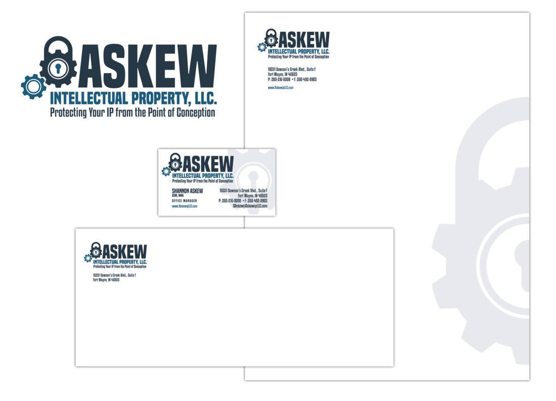 askew logo and stationery design