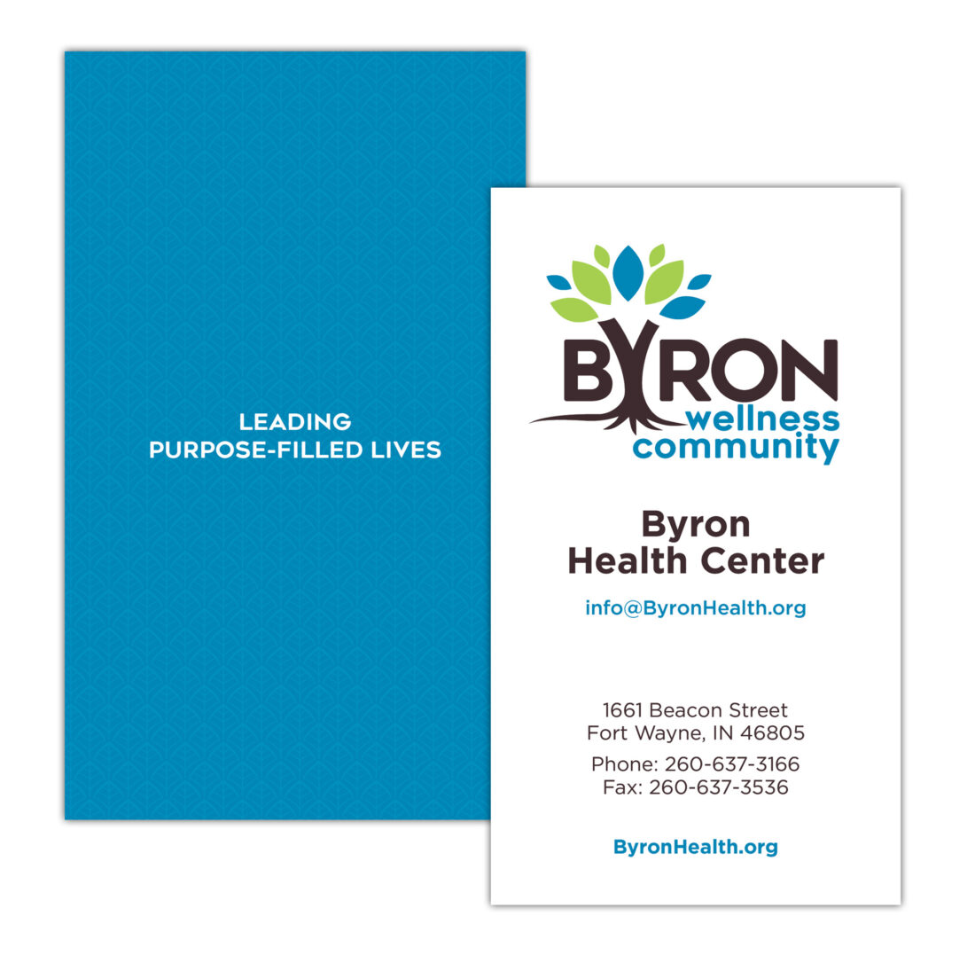 byron wellness community logo and business card design