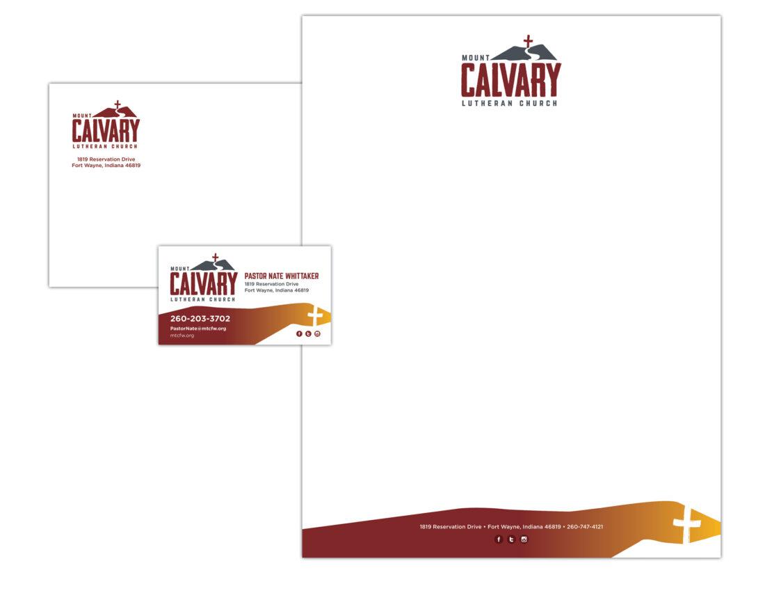 Calvary lutheran church logo and stationery design