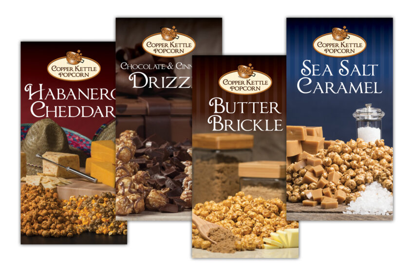 copper kettle popcorn table top banners