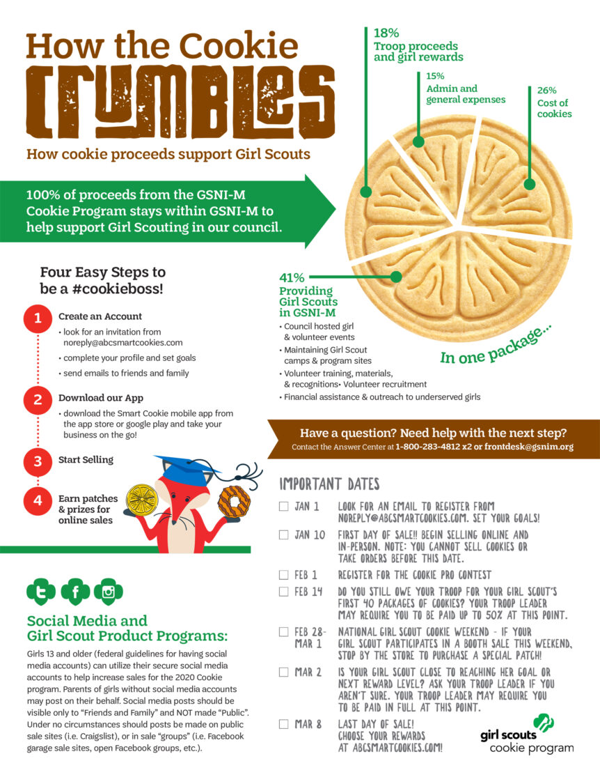 girl scouts cookie information piece design