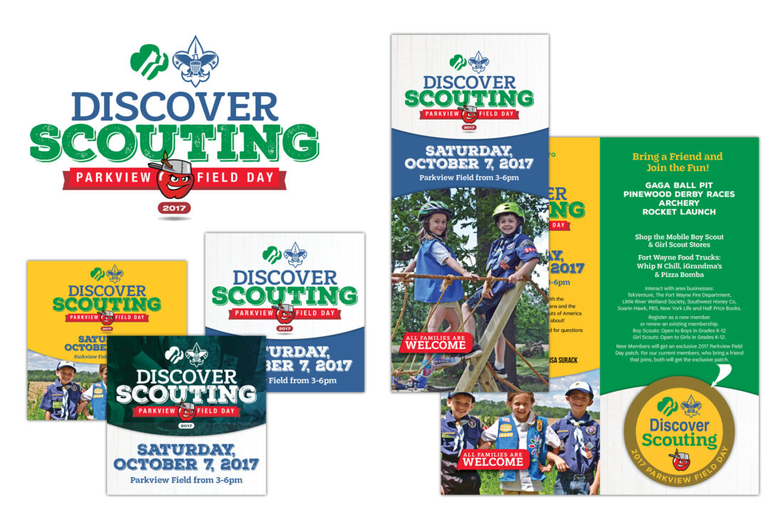 boy scouts and girl scouts event logo, social media and brochure design