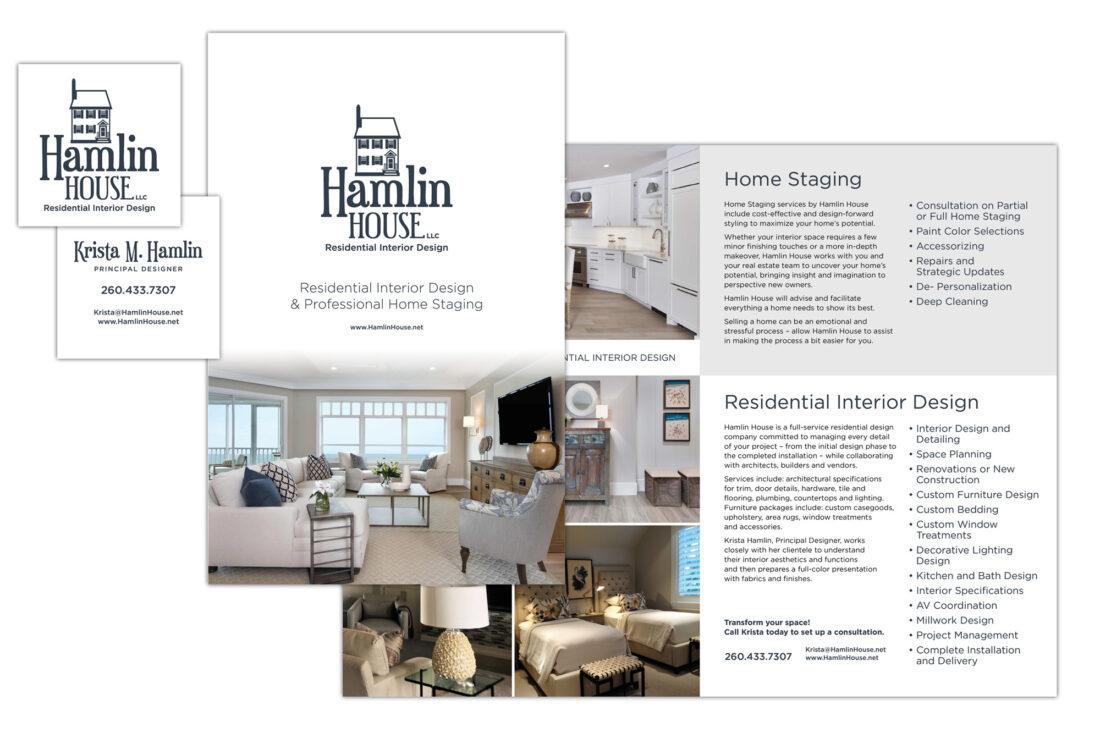 hamlin house business card and brochure design