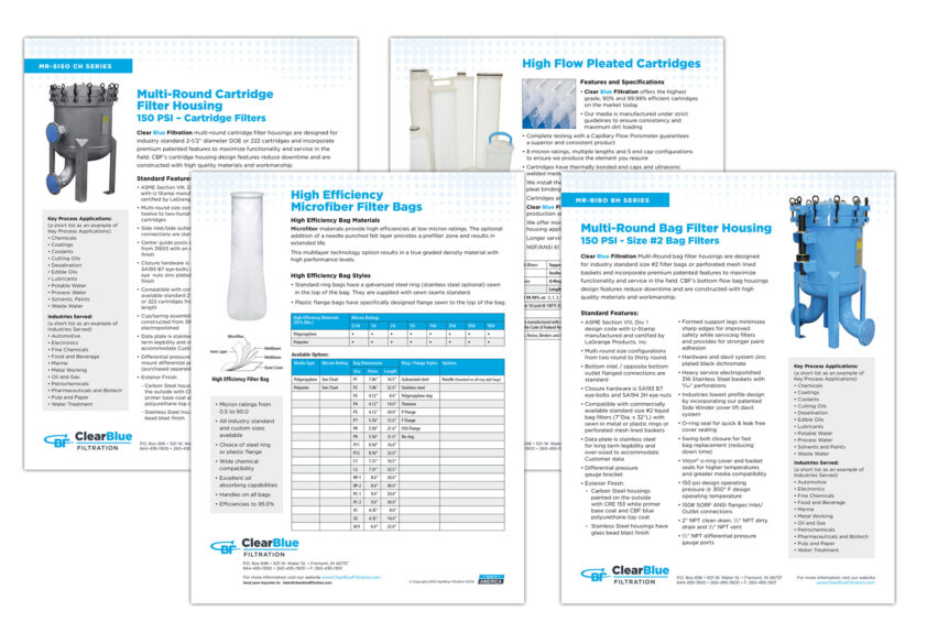 clearblue filtration product sheet design