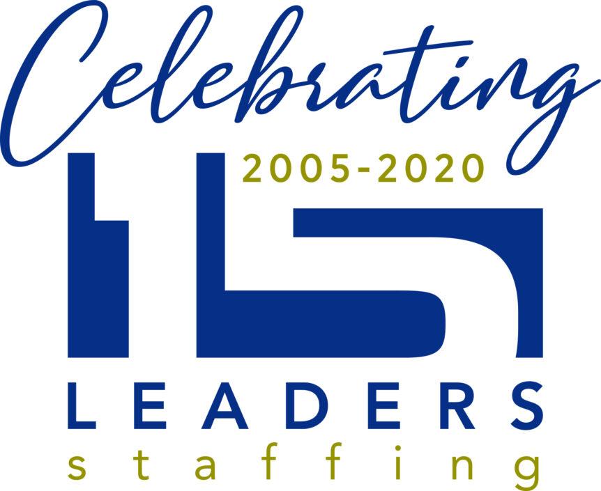 leaders staffing 15th anniversary logo design