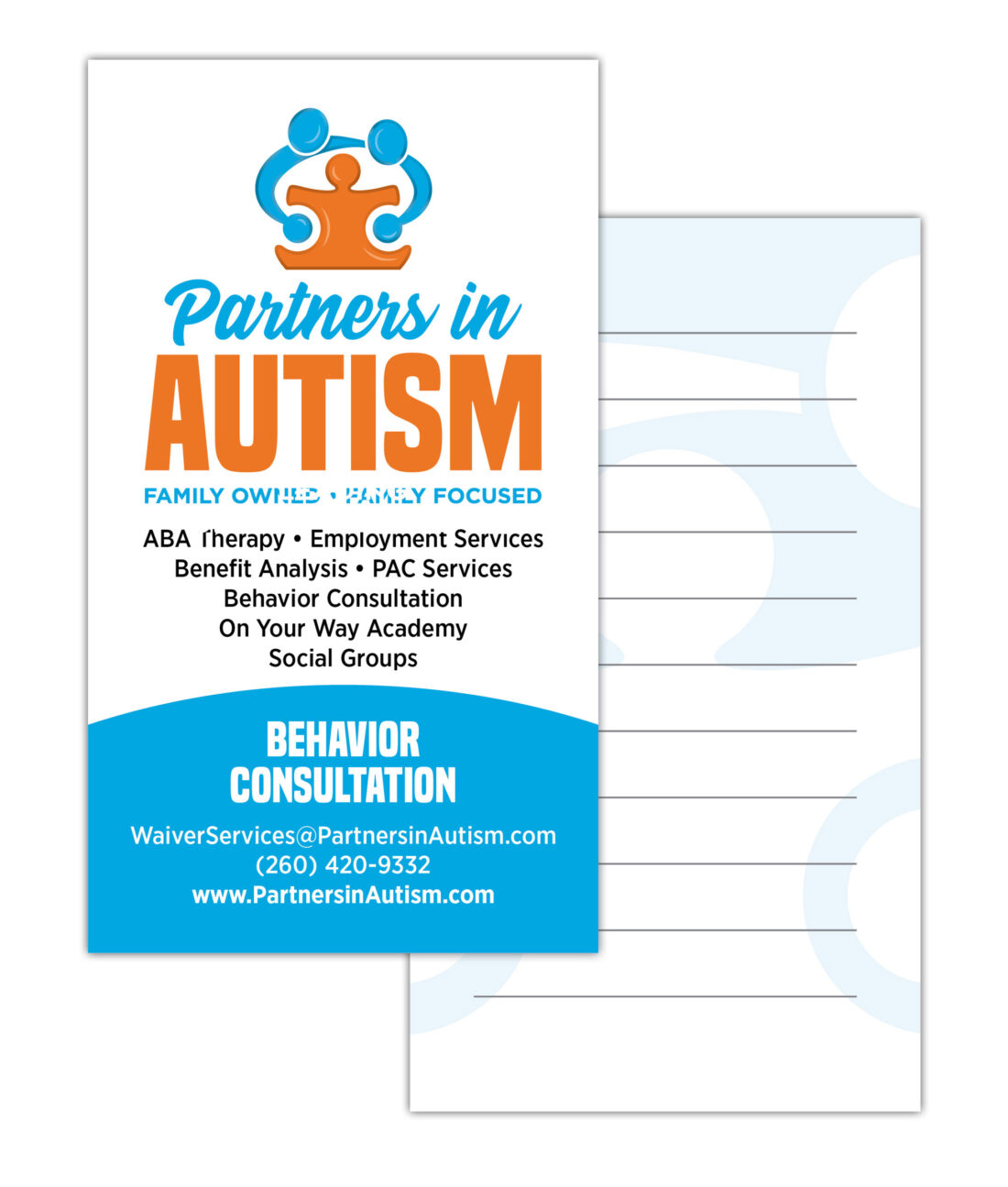 partners in autism logo and business card design