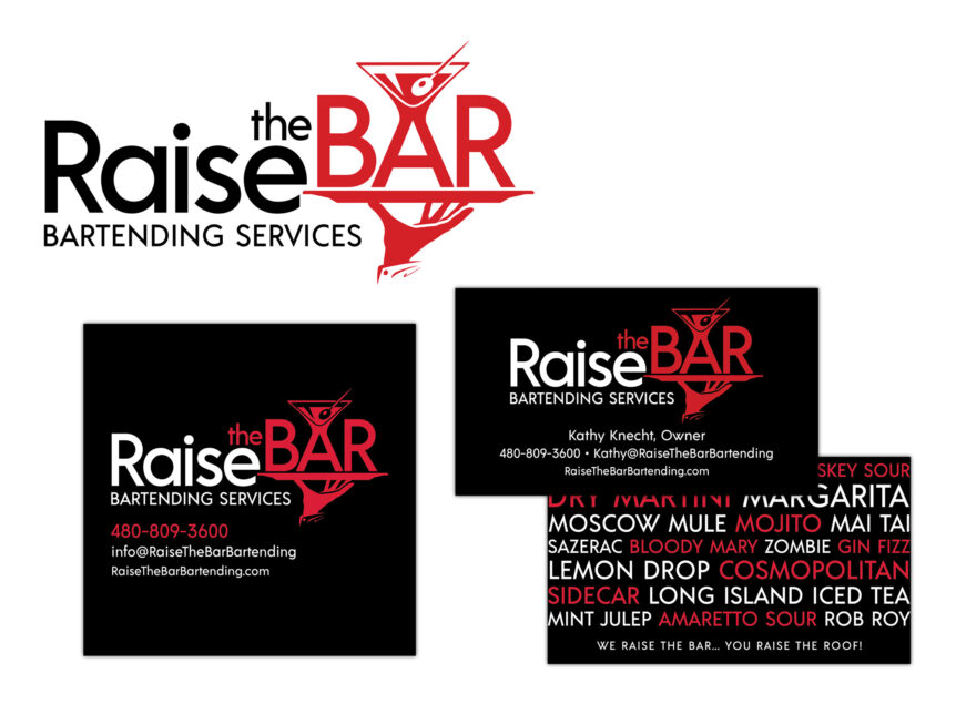 raise the bar logo and business cards