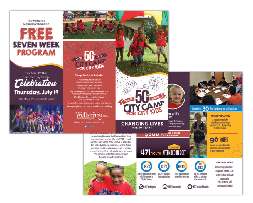 wellspring interfaith social services summer camp brochure design