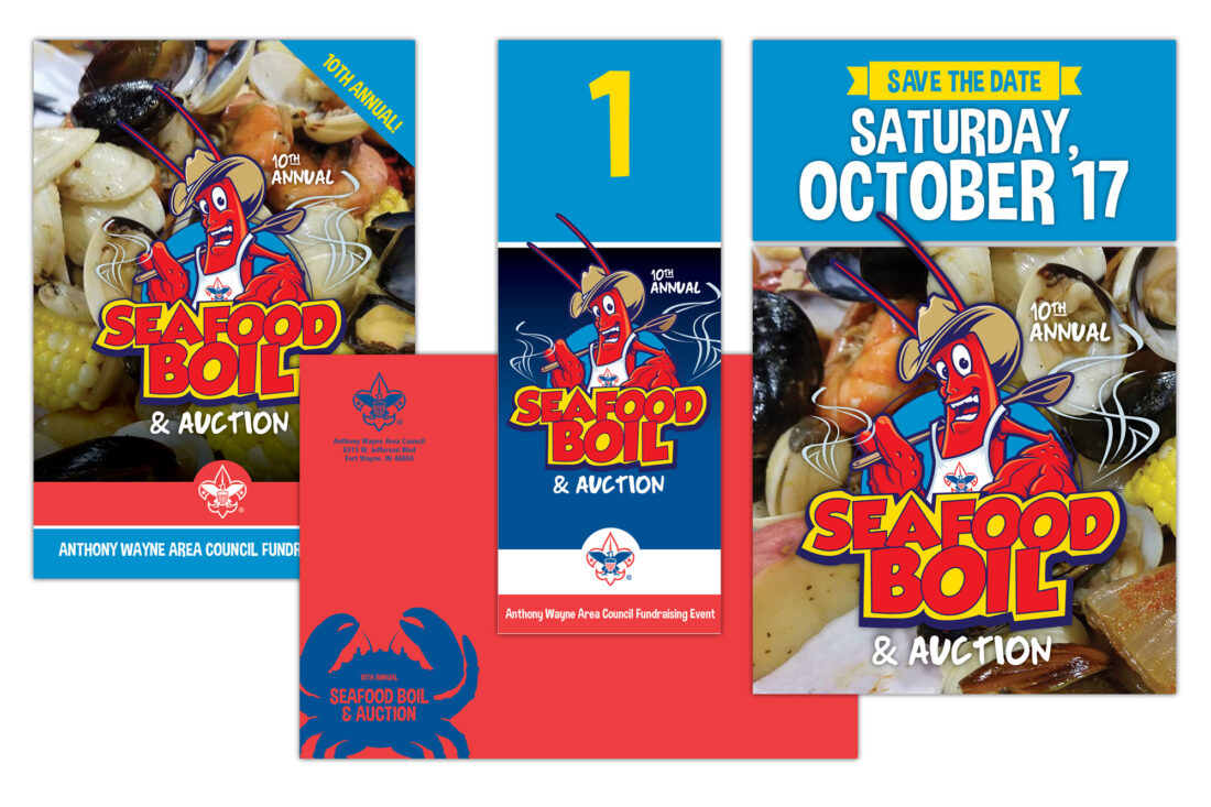 boy scouts seafood boil event package design
