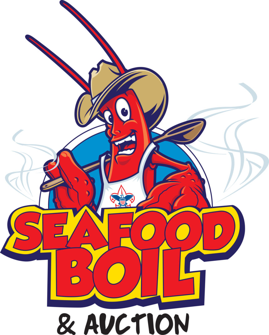 boy scouts seafood boil event logo design