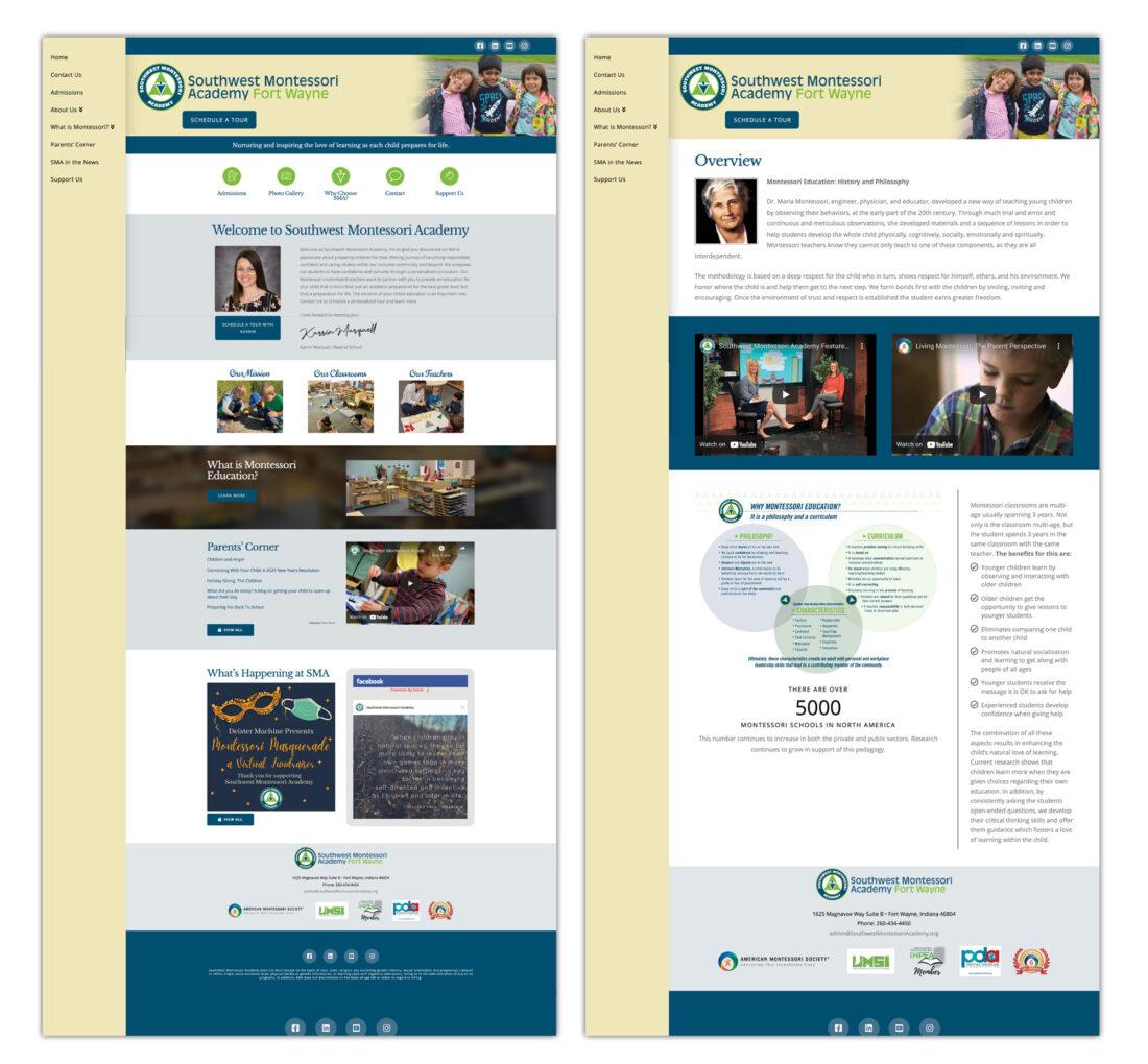 southwest montessori academy website design