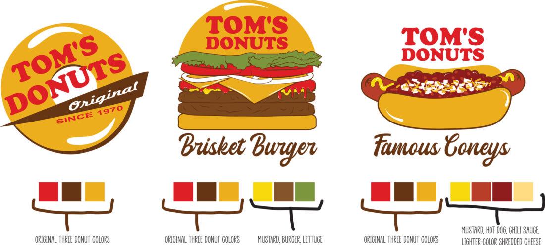 tom's donuts custom illustration, logo design and refresh