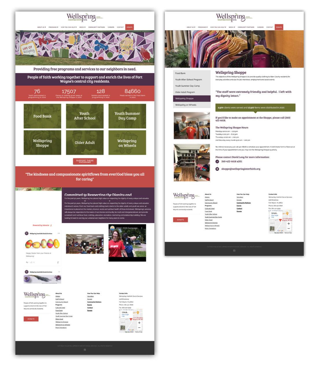wellspring interfaith social services website design